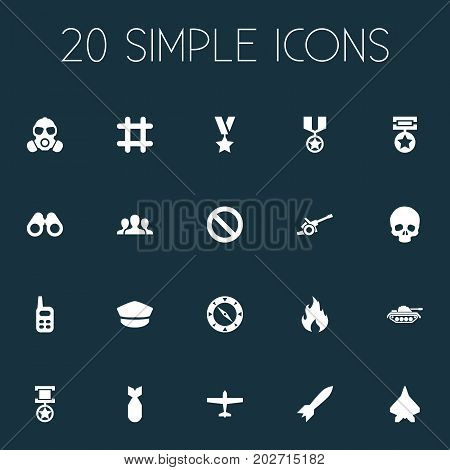 Elements Bombshell, Aircraft, Trophy And Other Synonyms Military, Space And Skull.  Vector Illustration Set Of Simple Combat Icons.