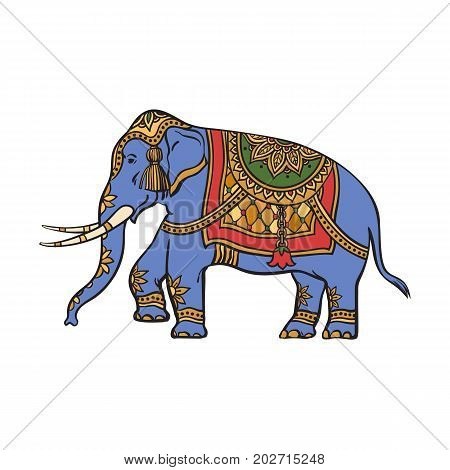 vector sketch cartoon indian gold decorated oriental elephant. Isolated illustration on a white background. Traditional eastern festive animal with big tusks. Hand drawn sri-lanka , india symbols