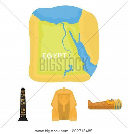 The territory of Egypt, the Sphinx, the pharaoh's sarcophagus, the Egyptian pillar with the inscription.Ancient Egypt set collection icons in cartoon style vector symbol stock illustration .