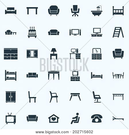 Elements Cinema System, Seat, Armchair And Other Synonyms Conference, Tv And Canape.  Vector Illustration Set Of Simple Furniture Icons.