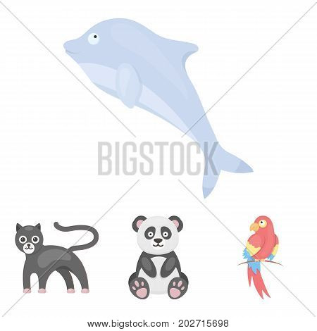 Panda.popugay, panther, dolphin.Animal set collection icons in cartoon style vector symbol stock illustration .