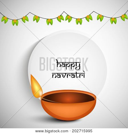 illustration of lamp and decoration with Happy Navratri text on the occasion of hindu festival Navratri