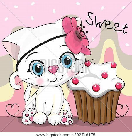 Greeting card Cute Cartoon Kitten with cake