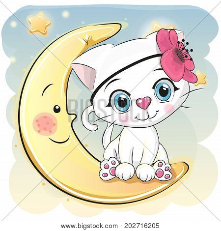 Cute Cartoon white kitten whith flower is sitting on the moon