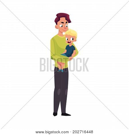 Young handsome father, dad holding little son, kid, child in arms, cartoon vector illustration isolated on white background. Cartoon style portrait of young father holding his little kid, son in arms