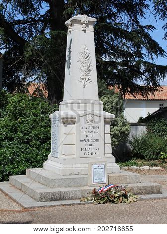 NIORT, FRANCE, JULY 21 2017: A monument in Echire, near Niort, to commemorate French citizens who lost their lives during World War One. Many towns throughout Europe remember the fallen in this way.