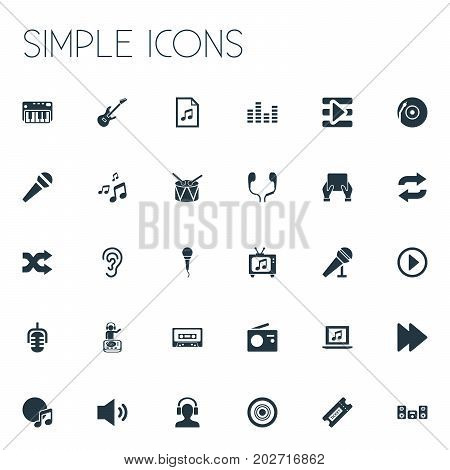 Elements Synthesizer, Microphone, Album And Other Synonyms Next, Piano And Earmuff.  Vector Illustration Set Of Simple Music Icons.