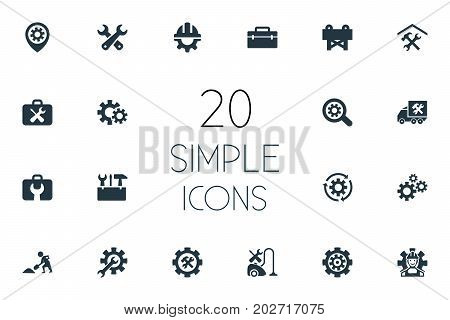 Elements Tool Case, Toolbox, Pin And Other Synonyms Toolbox, Service And Van.  Vector Illustration Set Of Simple Fixing Icons.