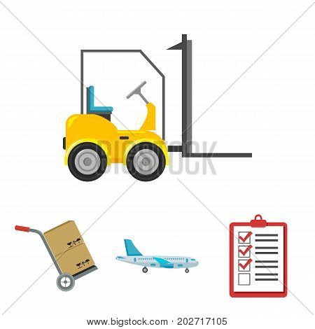 Cargo plane, cart for transportation, boxes, forklift, documents.Logistic, set collection icons in cartoon style vector symbol stock illustration .