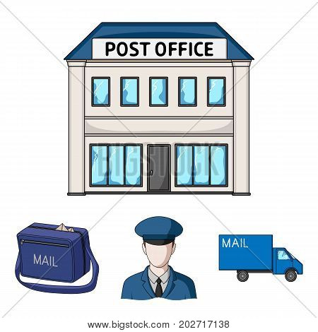 The postman in uniform, mail machine, bag for correspondence, postal office.Mail and postman set collection icons in cartoon style vector symbol stock illustration .