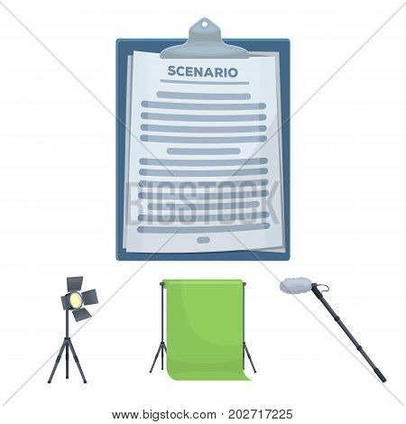 Hromakey, script and other equipment. Making movies set collection icons in cartoon style vector symbol stock illustration .