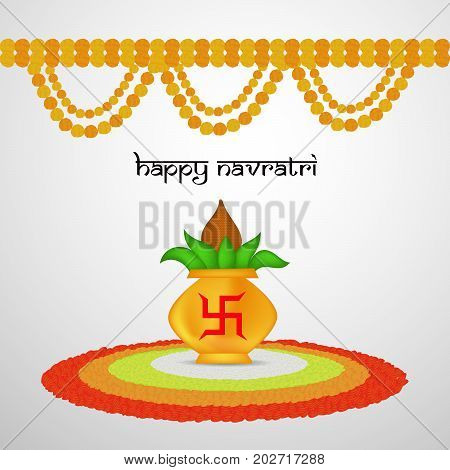 illustration of Kalash and Hinduism sign swastik with Happy Navratri text on the occasion of hindu festival Navratri