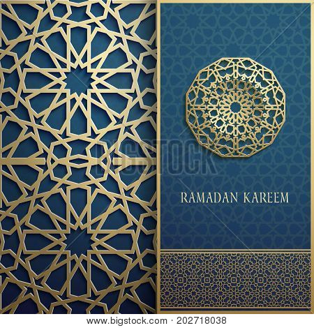 3d Ramadan Kareem greeting card, invitation islamic style.Arabic circle golden pattern.Gold ornament on black, islamic brochure