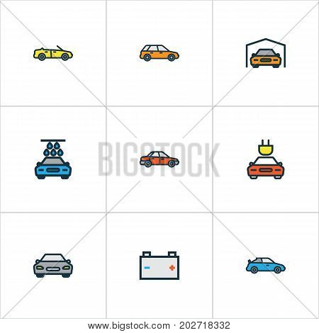 Automobile Colorful Outline Icons Set. Collection Of Automobile, Sport, Washing And Other Elements