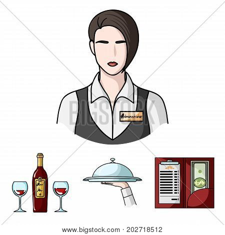 A tray with a cloth, check and cash, a bottle of wine and glasses, a waitress with a badge. Restaurant set collection icons in cartoon style vector symbol stock illustration .
