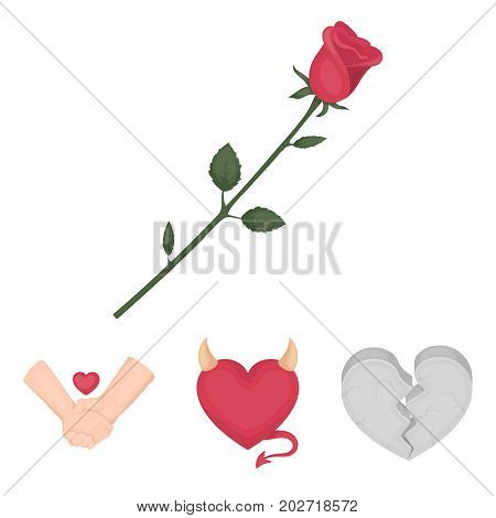 Evil heart, broken heart, friendship, rose. Romantic set collection icons in cartoon style vector symbol stock illustration .
