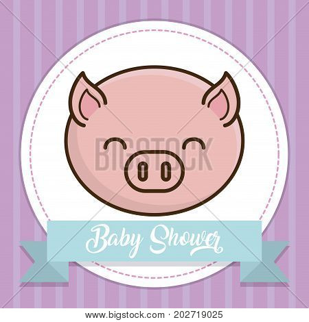 baby shower card with cute pig icon over purple background colorful design vector illustration