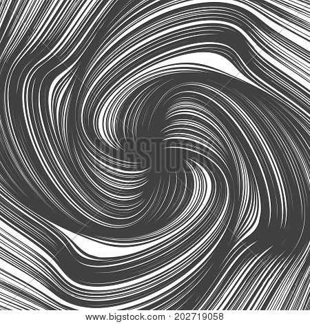 Hand Drawn Vector Abstract Grunge Decorative Ink Twirl Lines Spiral Texture Isolated on White Background