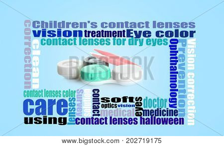 Frame of words around containers for contact lenses and tweezers on color background