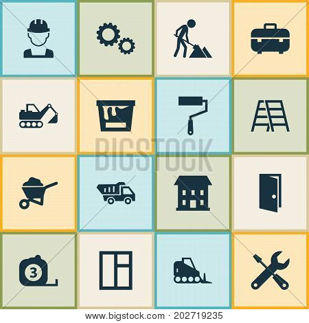 Building Icons Set. Collection Of Cogwheel, Builder, Entrance And Other Elements