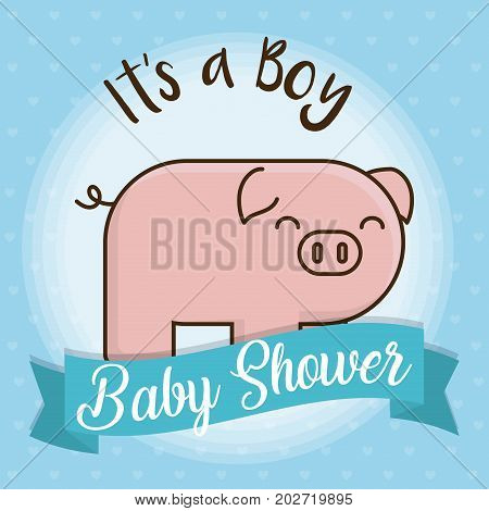 baby shower card with cute pig icon over blue background colorful design vector illustration