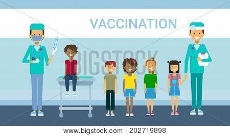 Doctor Vaccination Of Children Illness Prevention Immunization Medical Health Care Hospital Service Medicine Banner Flat Vector Illustration
