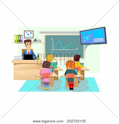Lesson in classroom at school or college, teacher explains lesson near desk in front of students, Children sit on chairs at their desks table to listen teacher, education concept vector illustration.
