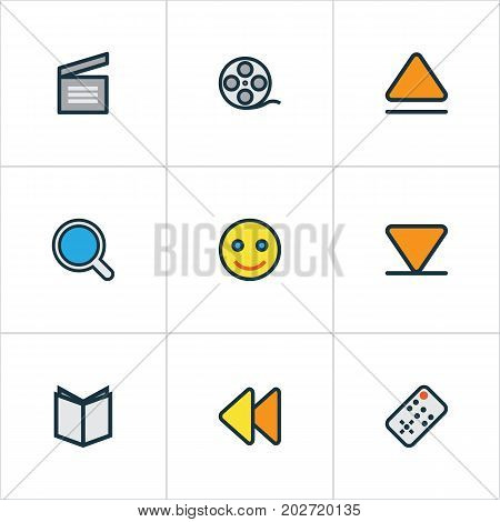 Music Colorful Outline Icons Set. Collection Of Learning, Clapperboard, Filmstrip And Other Elements