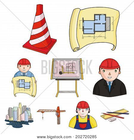 A set of icons on the theme of construction and architects. Builders, architects, and subjects for construction . Architect icon in set collection on cartoon style vector symbol stock web illustration.