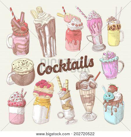 Milkshakes and Ice Cream Hand Drawn Doodle. Dessert Drinks. Vector illustration