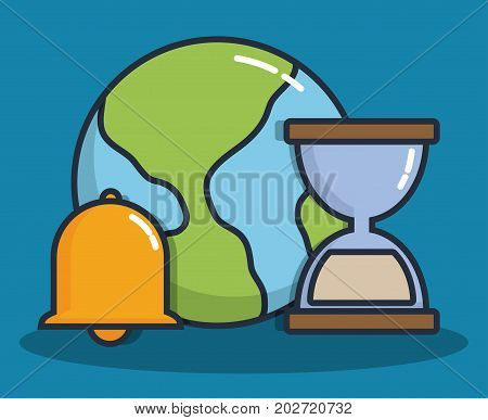 earth planet and hourglass with bell icon over blue background colorful design vector illustration