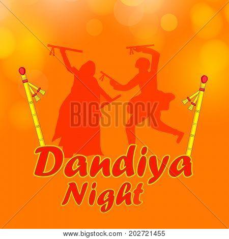 illustration of people doing dandiya dance and dandiya sticks with Dandiya Night text on the occasion of hindu festival Navratri