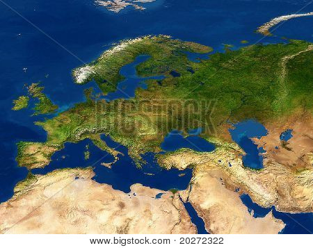 Real looking Earth map.  Europe in the center. Map is accurate and right, like in reality.