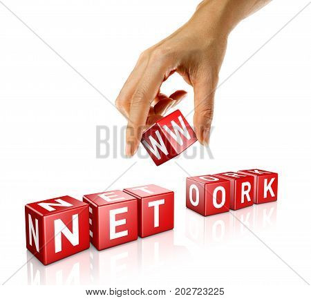 A woman's hand places a cube to form the word network. Isolated on a white background