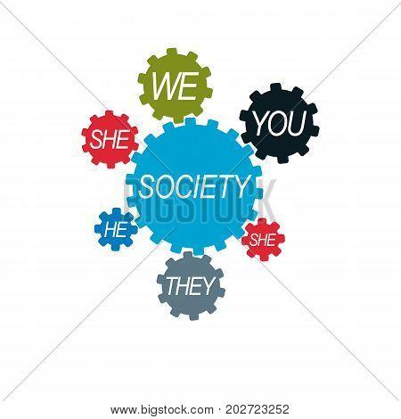 Social Relations conceptual logo unique vector symbol. Society and Person social interaction.