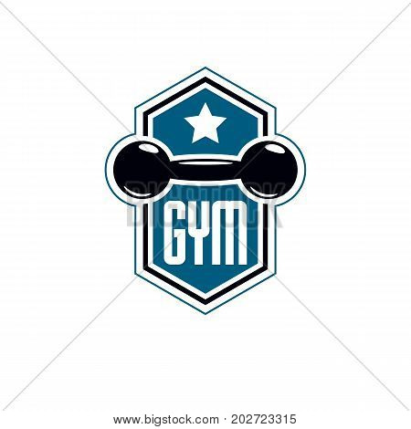 Sport logo for weightlifting gym and fitness club retro style vector emblem. With dumbbell.