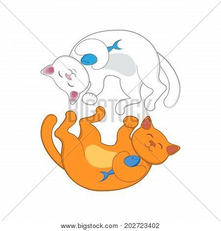 Logo, emblem with two cats, red and white, forming a circle, isolated cartoon vector illustration. Two cute, funny cats forming a circle, logo, emplem design