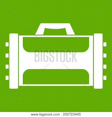 Welding machine icon white isolated on green background. Vector illustration