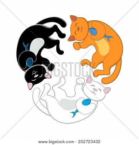 Logo, emblem with three cats, black, red and white, forming a circle, isolated cartoon vector illustration. Three cute, funny cats forming a circle, concept f variety, diversity