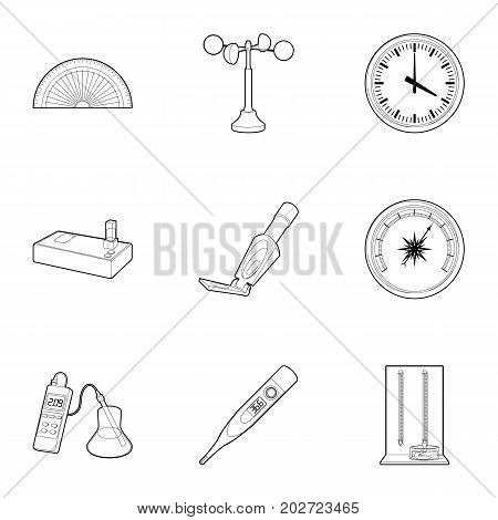 Electronic measuring device icons set. Outline set of 9 electronic measuring device vector icons for web isolated on white background
