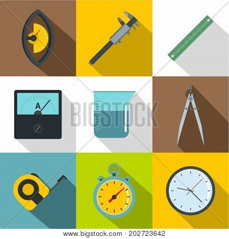 Measure instrumentation icon set. Flat style set of 9 measure instrumentation vector icons for web design