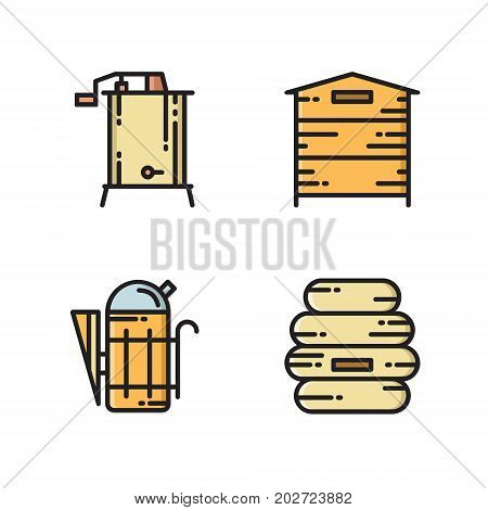Honey production tools - bee hive, smoker and extractor, thin line flat icon, vector illustration isolated on white background. Flat thin line icon set of beehive, bee hive, smoker and honey extractor