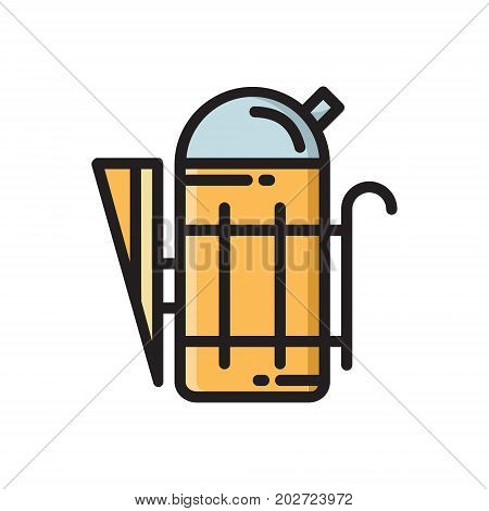 Beekeeper smoker, beekeeping tool, colorful thin line flat style icon, vector illustration isolated on white background. Flat style thin line, outline icon of beekeeper smoker tool