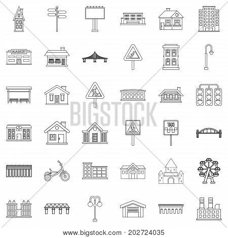 Downtown icons set. Outline style of 36 downtown vector icons for web isolated on white background