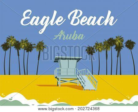 beach and lifeguard stand at eagle beach in aruba