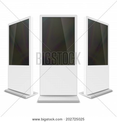 Portable Interactive Digital Signage. White Clean Empty Digital Display. Isolated Illustration