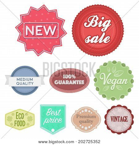 Label set icons in cartoon style. Big collection of label vector symbol stock
