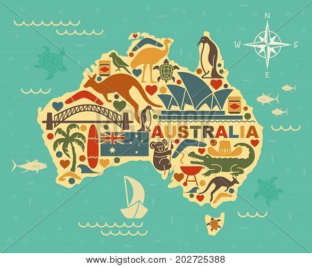 Traditional symbols of Australian culture and nature in the form of map