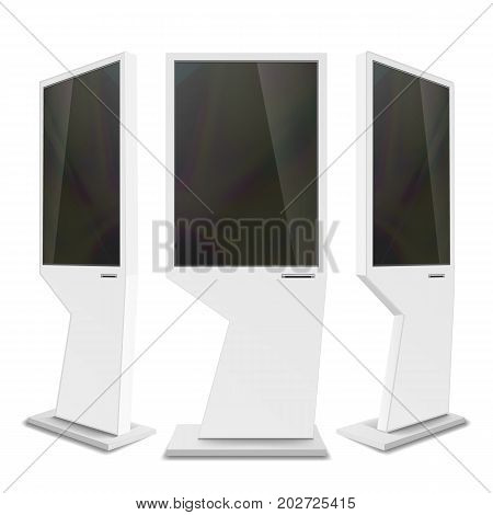 Advertising Digital Signage Vector. Advertising Screen Mock Up isolated. LCD Digital Signage For Indoor Using. Isolated Illustration poster