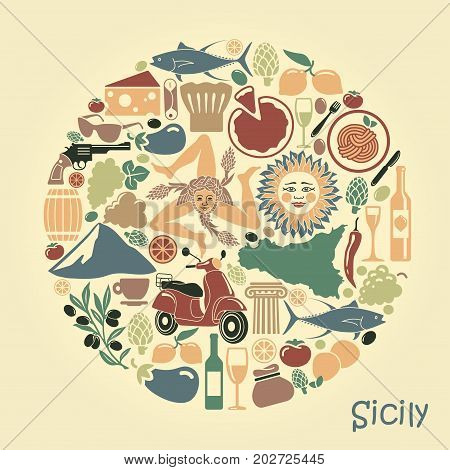 Traditional symbols of nature cuisine and culture of Sicily. Set of icons in the form of a circle